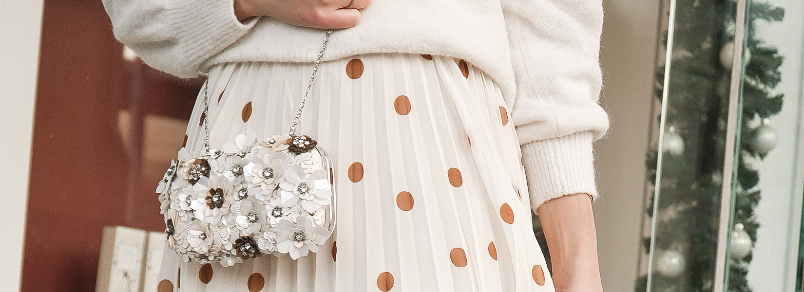 A Festive Holiday Look:  Wearing Pleated Skirts This Christmas