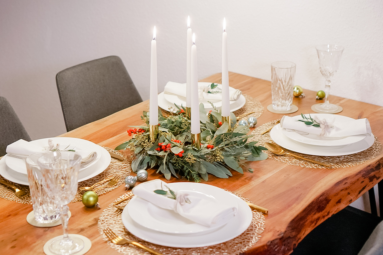 Festive Christmas Table with Holiday Wreath