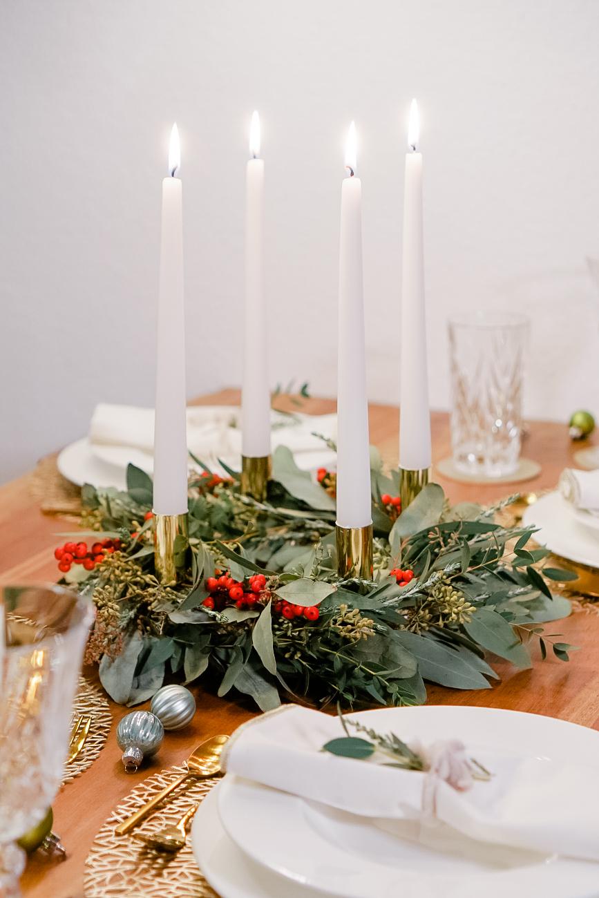 Christmas Wreath on a festive table