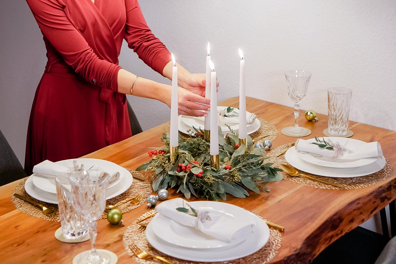 Festive Christmas Table with Holiday Wreath